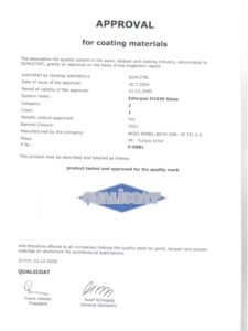 Qualicoat D1036 Gloss certificate